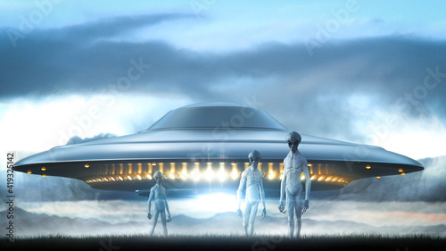 Foto long shot of three aliens in withe space suite landing on a landscape and a ufo