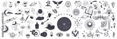 Obraz na płótnie Mystic vector items, moon, hands, crystals, planets