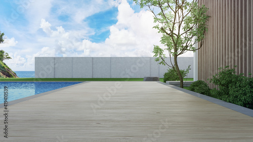 Canvas Print Luxury beach house with sea view swimming pool and terrace in modern design