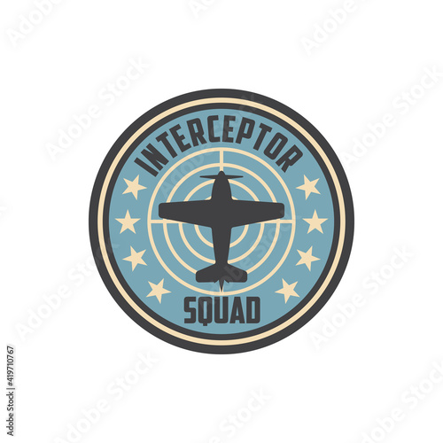 Wallpaper Mural Interceptor squad army chevron insignia on non-commissioned officers uniform isolated patch with military aircraft