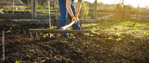 Fotografia Farmer working in the garden with the help of a rake leveling plowed land, on a