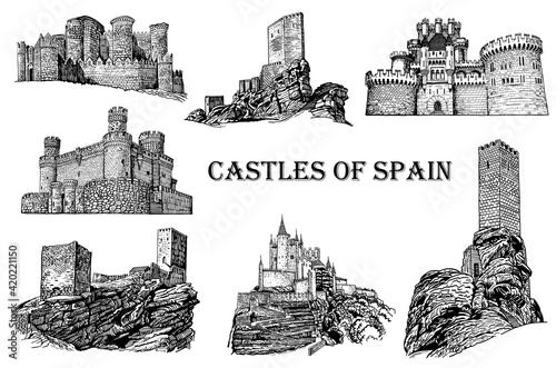 Fotografia Graphical castles of Spain on white background, vector architecture