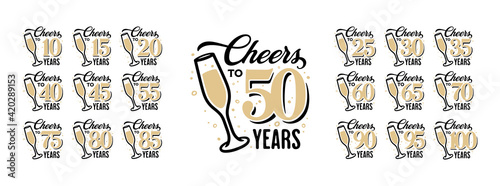 Fotografie, Obraz Cheers to 50 years lettering sign