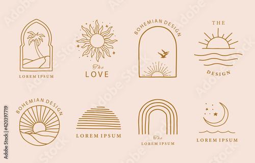 Obraz na płótnie Collection of line design with sun,sea,wave