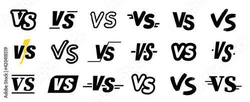 Canvas Print Set of VS versus letters icons set