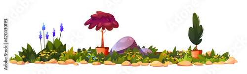Fotografia Flower bed with potted plants, blooming flowers and stones, gardening landscape architecture