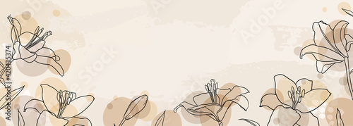 Stampa su Tela banner background of creative minimalist hand draw illustrations floral outline