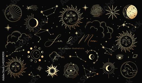 Cuadros en Lienzo Golden set of sun, moon, stars, clouds, constellations and esoteric symbols