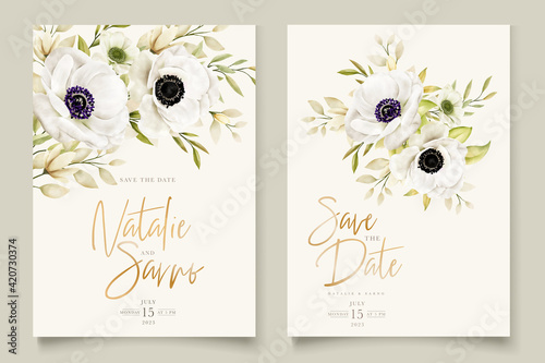 Slika na platnu Watercolor poppy anemone invitation card