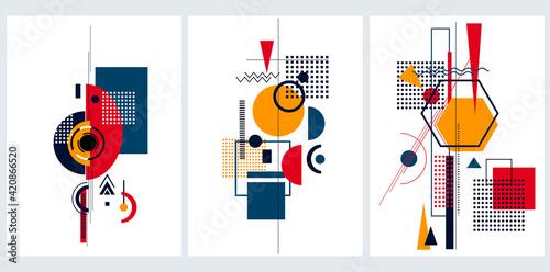 Obraz na plátně Vector set of abstract avangarde  minimal   geometric backgrounds