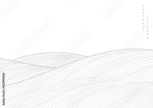 Abstract landscape background with white and grey Japanese wave pattern vector. Ocean sea art with natural template. Banner design and wallpaper in vintage style.