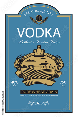 Fotografia template vodka label with royal crown, field and ears of wheat in retro style