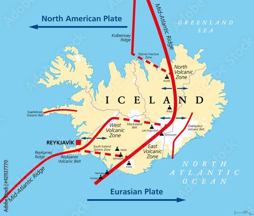 Obraz na płótnie Geology of Iceland political map