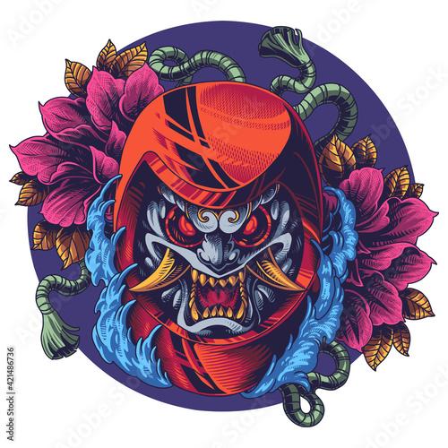 Stampa su Tela Oni daruma mascot logo design