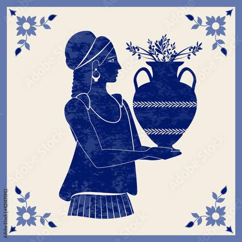 Cuadros en Lienzo Illustrated ceramic tile