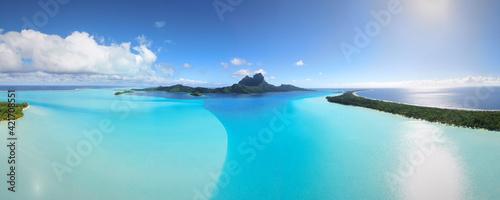 Obraz na plátně Panoramic View Of Bora Bora Against Sky