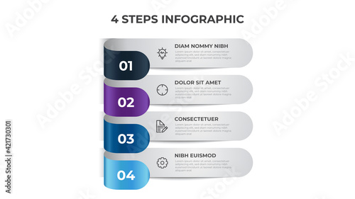 Canvas Print Colorful 4 points of steps, list layout diagram, infographic element template vector