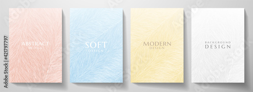 Abstract fur cover design set. Creative fashionable background with pastel line pattern. Trendy vector collection for catalog, brochure template, magazine layout, beauty booklet