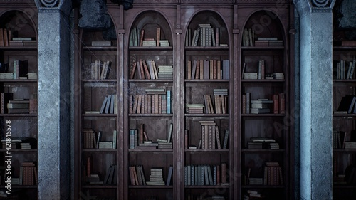 Obraz na plátně An ancient medieval library with old books and cobweb-covered bookshelves