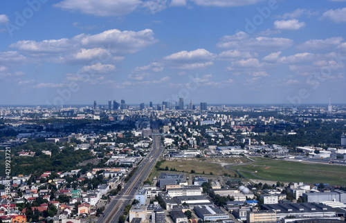 Warszawa, panorama na miasto z lotu ptaka, stolica Polski,  #421923721