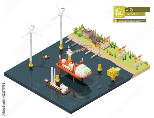 Vector isometric offshore wind farm and power plant construction Fototapeta