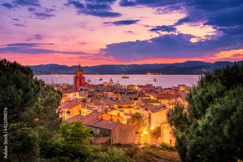 Nightfall Over The Village Of Saint-tropez In South Of France Fototapeta
