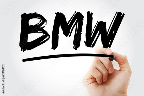 Wallpaper Mural BMW - Bavarian Motor Works acronym with marker, concept background