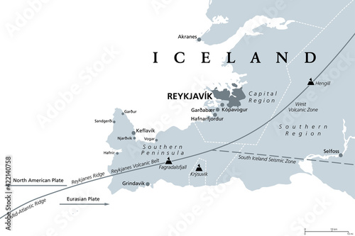 Fotografia Geology of the Capital Region and Southern Peninsula of Iceland, gray political map