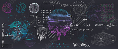 Fotografiet Abstract Science elements with fundamental Quantum Mechanics formulas