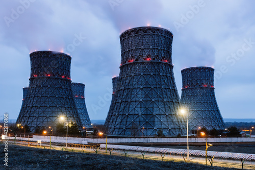 Stampa su Tela Cooling tower of nuclear power plant at night