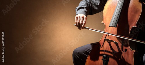 Fotografia Cello player or cellist performing in an orchestra background
