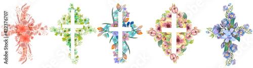 Fotografia Set of floral crosses