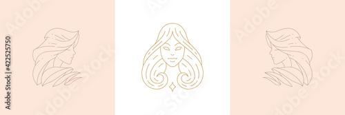 Fotografering Magic female enchantresses in boho linear style vector illustrations set