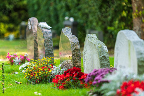 Fotografie, Obraz Row of tombstones decorated with colorful flowers