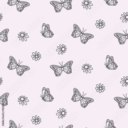 Fototapeta Butterfly and daisy floral outline monochrome seamless pattern background