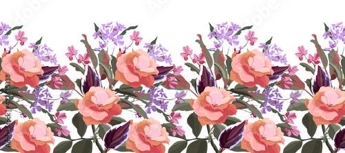 Fotografie, Tablou Vector floral seamless pattern, decorative border