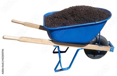 Spring wheelbarrow filled with mulch. Isolated. Fototapeta
