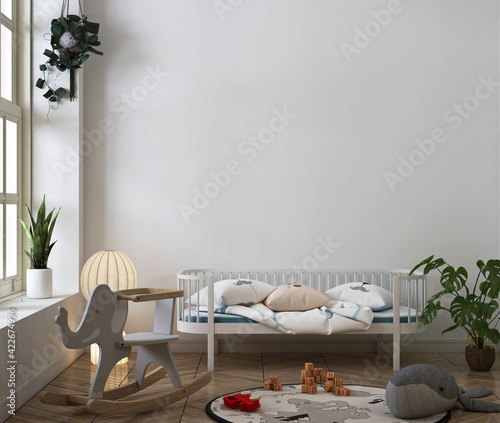 3d rendering of nursery room with wall mockup