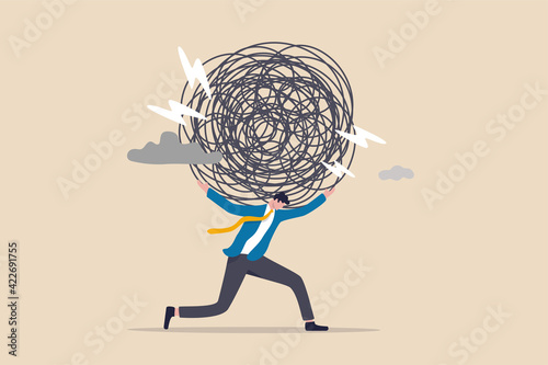 Murais de parede Stress burden, anxiety from work difficulty and overload, problem in economic cr