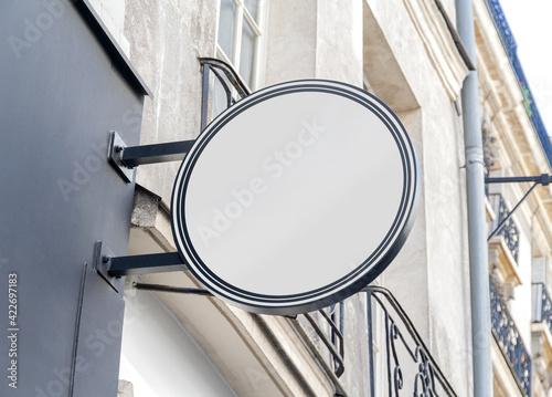 Valokuvatapetti Circular store brand sign board mockup