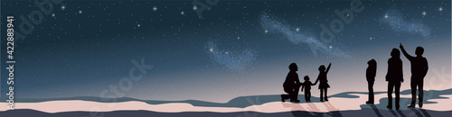 Fotografering Banner Star scene night sky with silhouette people telescope looking at space