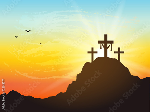 Silhouette of cross on a mountain with sunset. Poster Mural XXL