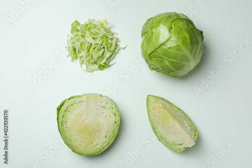 Canvas Flat lay with fresh cabbage on white background