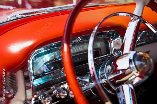 Canvastavla Steering Wheel and Speedometer of A Red Cadillac Eldorado