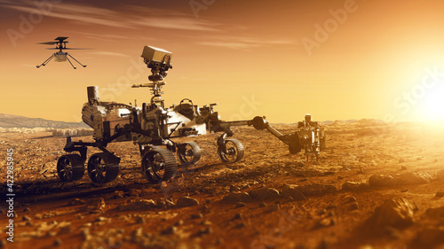 Stampa su Tela Mars Rover Perseverance and Mars Helicopter exploring the red planet