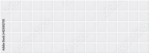 Fotografiet White ceramic tiles texture abstract background vector