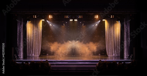 Tela theater scene, stage light with colored spotlights and smoke