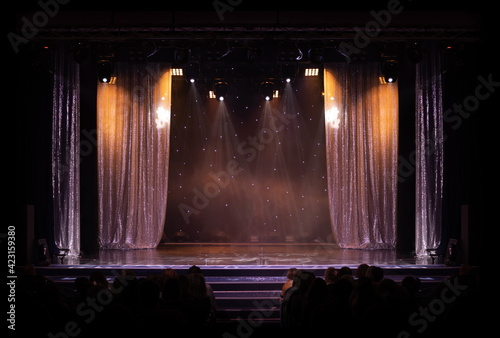 theater scene, stage light with colored spotlights and smoke Fototapet