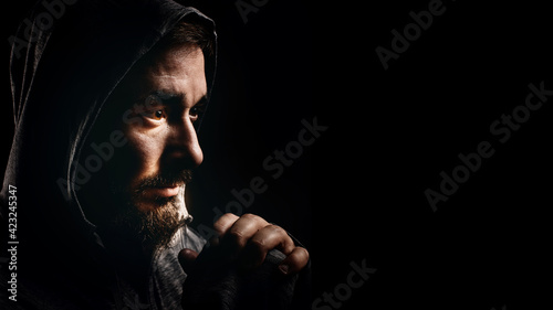 Tablou Canvas Bearded Smiling Man in Hood