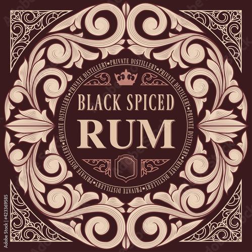Carta da parati Spiced Rum - ornate vintage decorative label